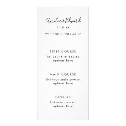Graceful Palms Wedding Menu Card - elegant gifts gift ideas custom ...