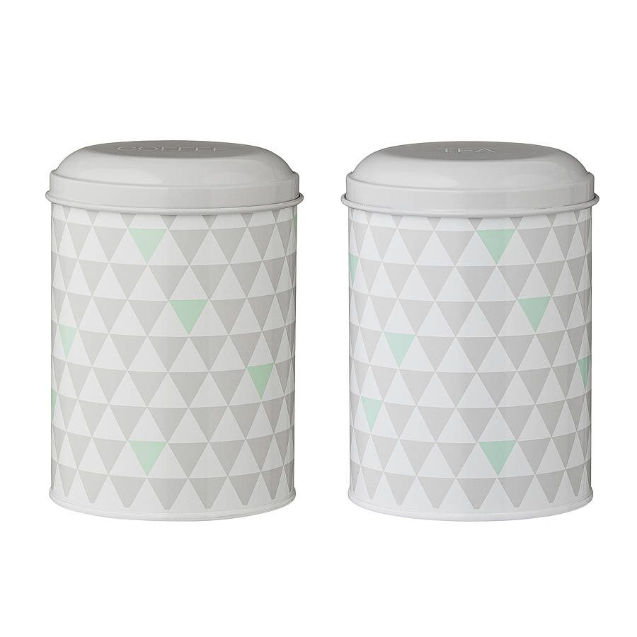 Retro Geometric Tea And Coffee Canisters