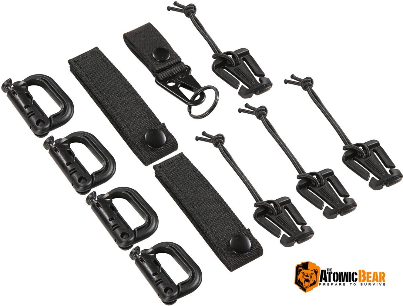 Tactical Gear Clip Strap for Molle Backpack Webbing D-Ring Grimlock Holders Kit