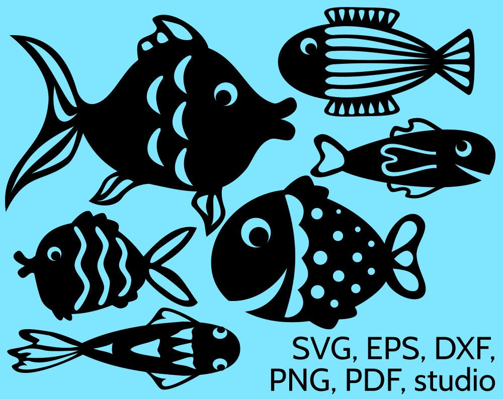 Svg fishes silhouettes to print or cut with cricut silhouette paper or vinyl great to make a paper aquarium