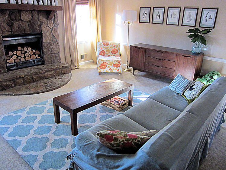 Rugs USA Homespun Moroccan Trellis Blue Rug. Living Room ...