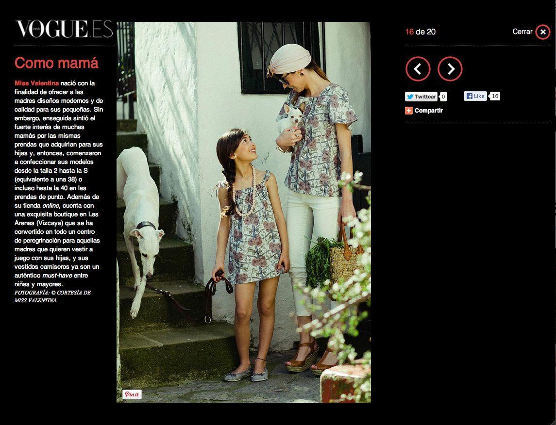 Vogue Niños elige a Miss Valentina para su especial Mamás e hijas a la moda