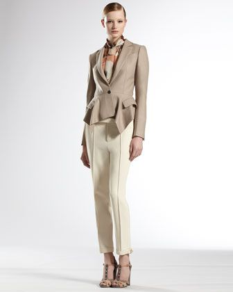 Ruffle Peplum Jacket, Pleated Sash Blouse &  D Ring Hem Holiday Pants  by Gucci at Neiman Marcus.