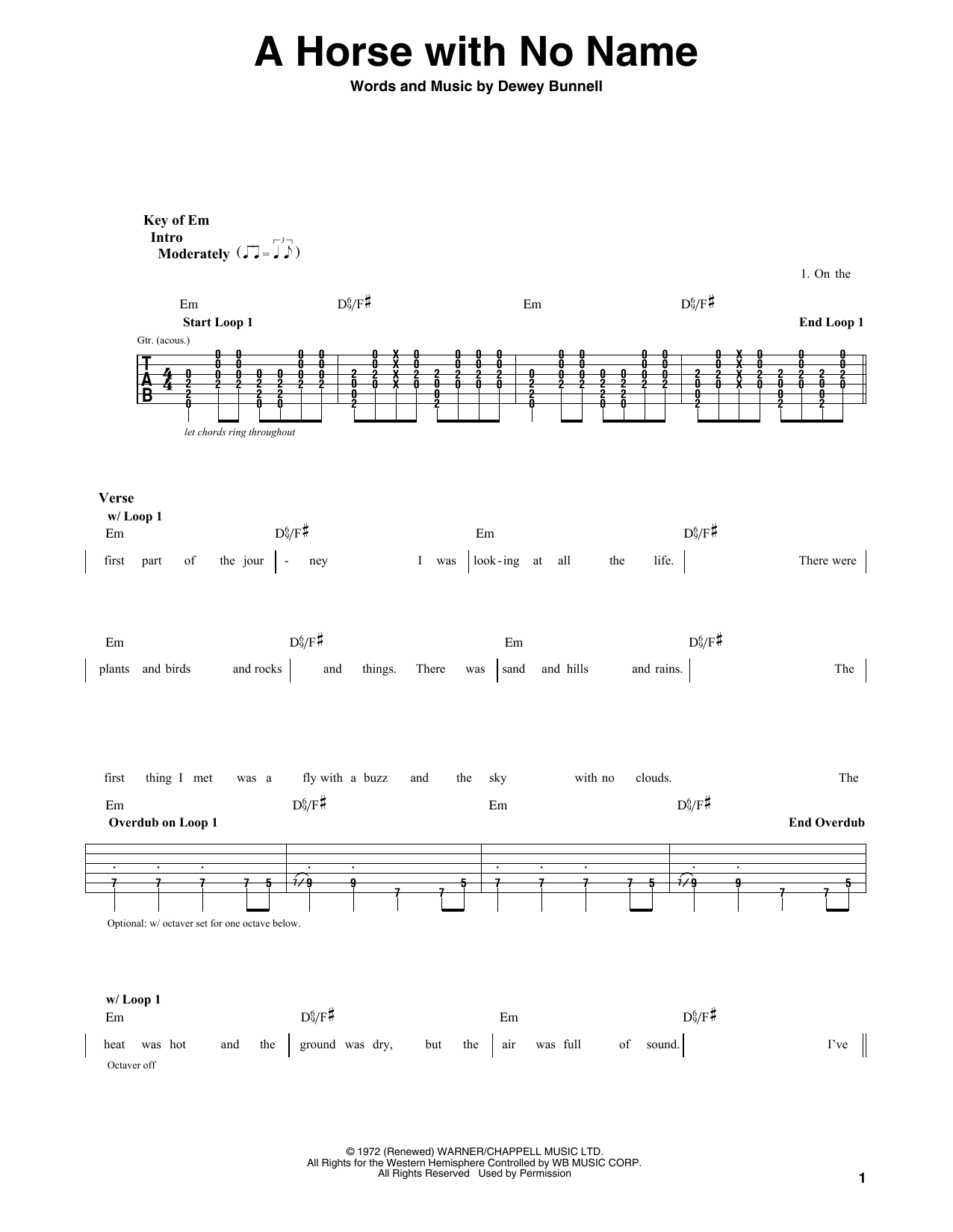 America A Horse With No Name Chord Sheetssheet Music Pinterest