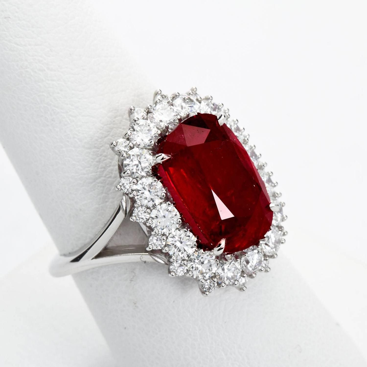 5 95 carat cushion cut mozambique ruby pigeon blood diamond