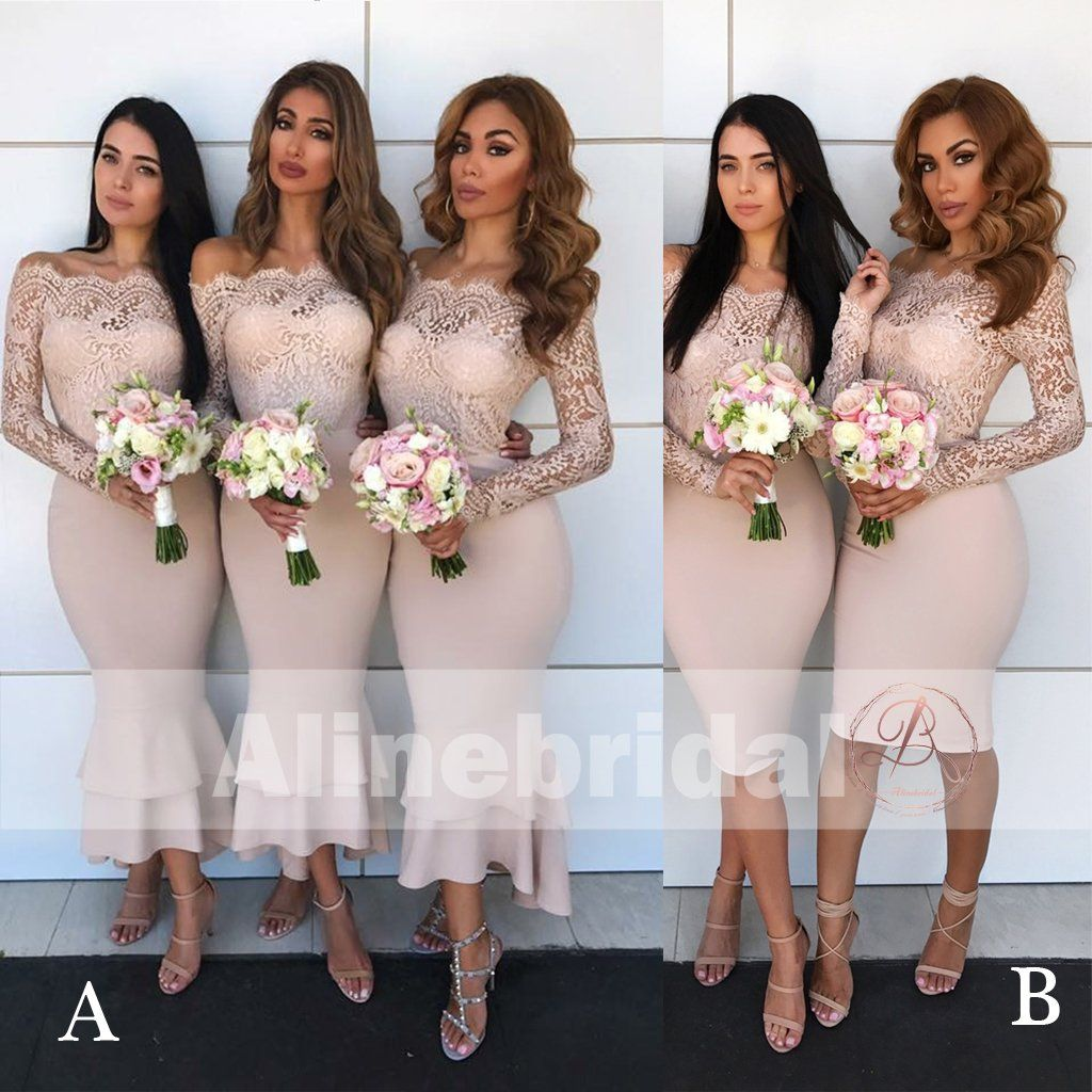 Mismatched off shoulder lace top bridesmaid dresses with long