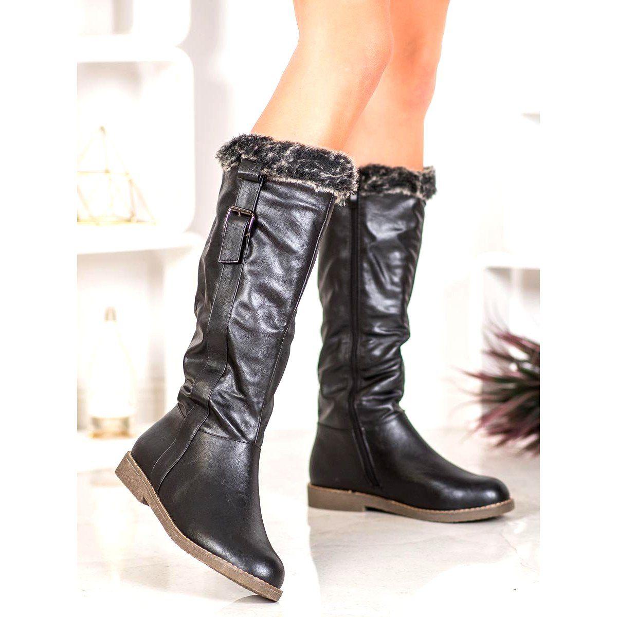 Sergio Leone Kozaki Z Futerkiem Czarne Boots Riding Boots Shoes