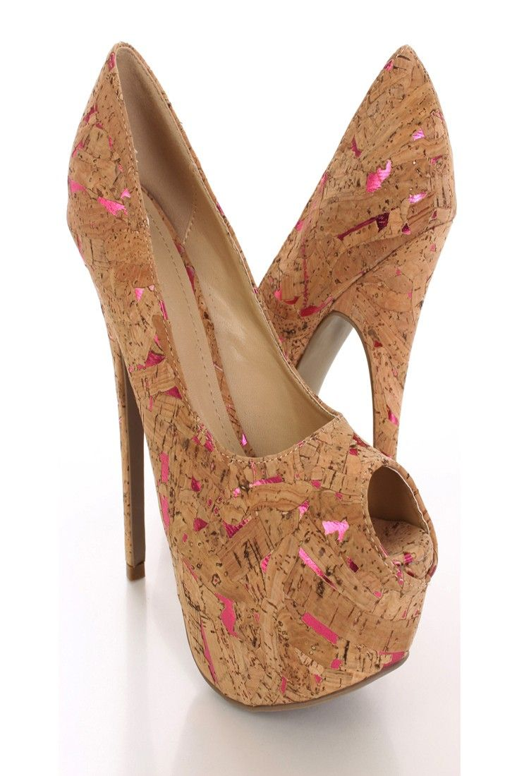 Look perfectly pretty for your next party when you add these saucy pumps to your look! They go perfect with any outfit for any occasion! Make sure you add these to your closet, it definitely is a must have! The features include a cork material with a peep toe, scoop vamp, smooth lining, and cushioned footbed. Approximately 6 inch heels and 2 inch platforms.