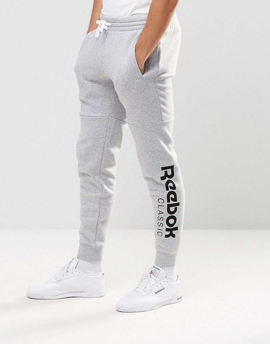 Image 1 of Reebok Large Logo Joggers In Grey AY0786