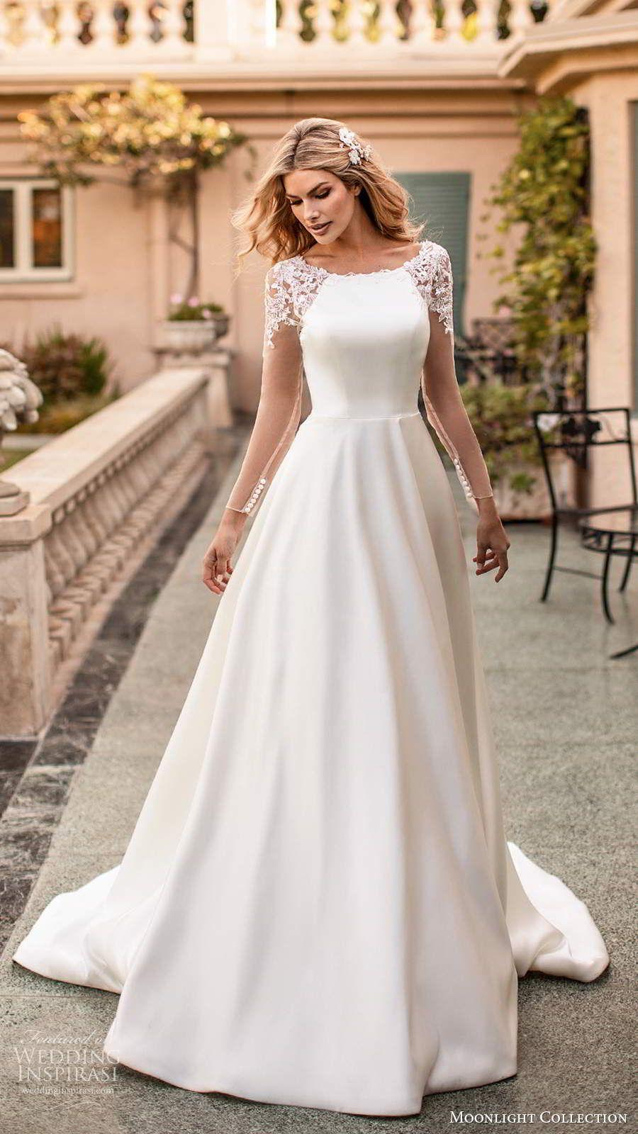 Moonlight Collection Fall 2020 Wedding Dresses Wedding Inspirasi Spring Wedding Dress Wedding Dresses Bridal Dresses [ 1600 x 900 Pixel ]