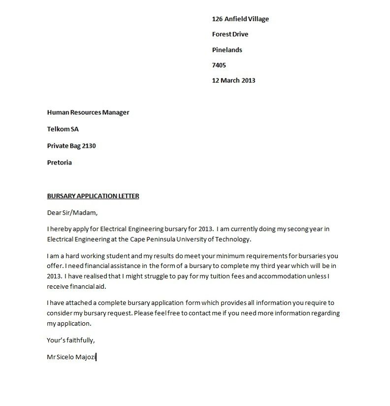Bursary Application Guide Letter Sample Cover Email For Job