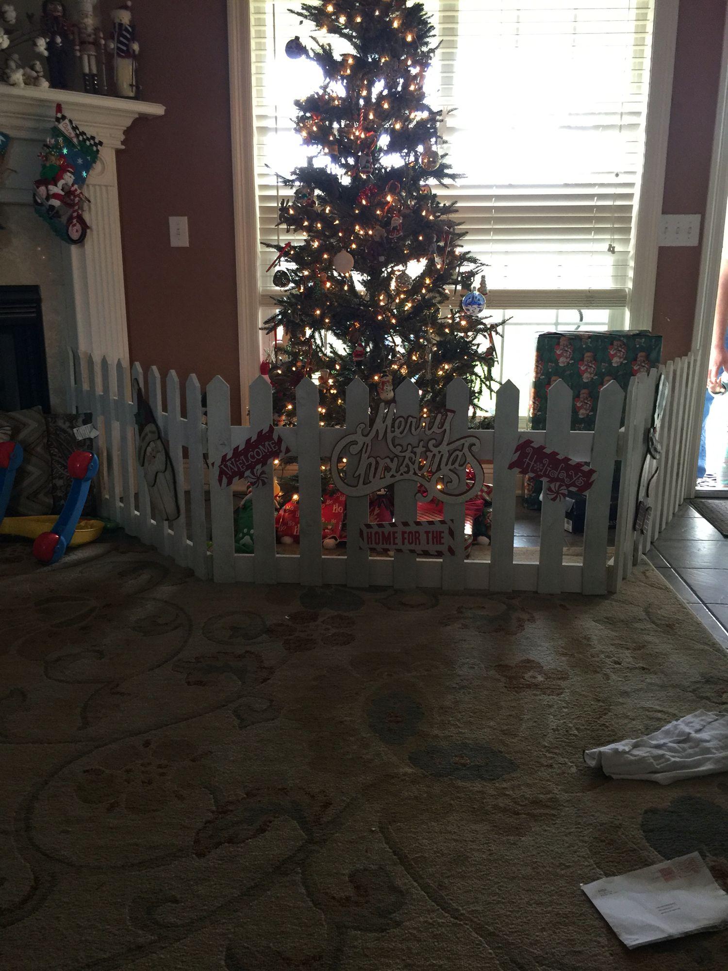 Baby Fence For The Christmas Tree Christmas Tree Fence Christmas Decor Diy Christmas Holidays