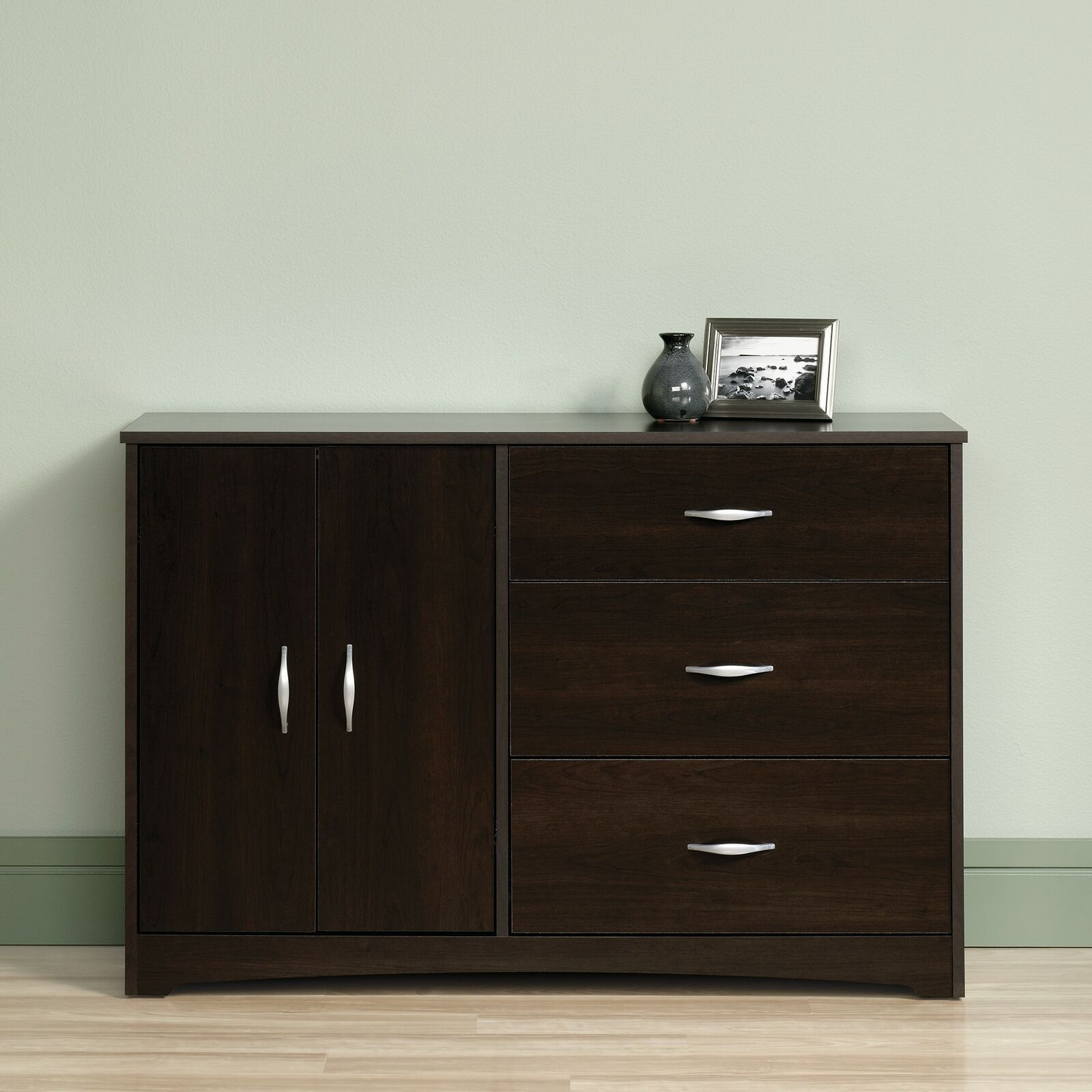 Details About Dark Brown Wooden Chest Drawers Dresser Combo