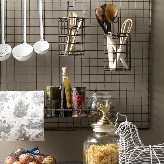 Kitchen Utensil Storage A Simple Grid Wall Rack Provides