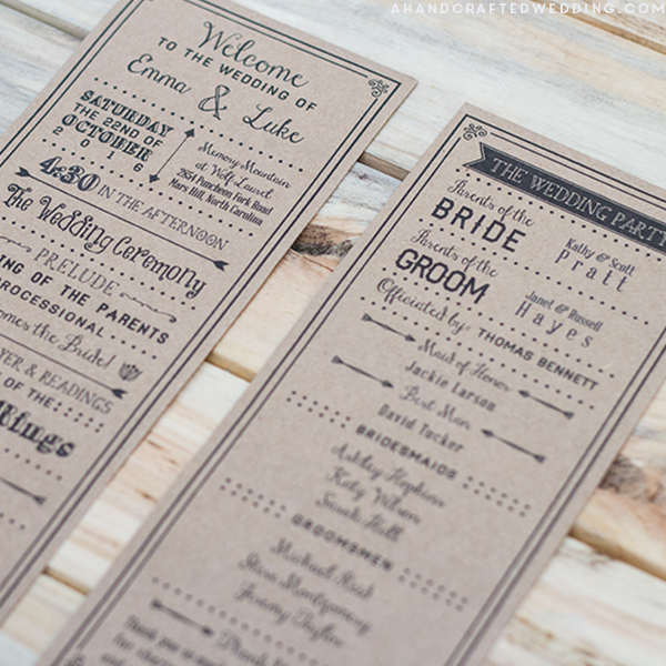 Black DIY Wedding Program Template