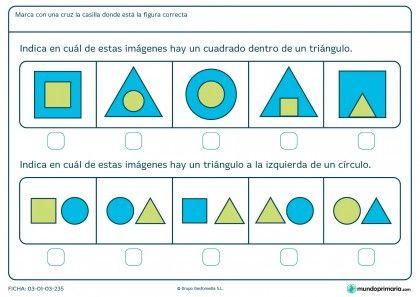 Ficha de identificar cuadrados, triángulos y posición para primaria
