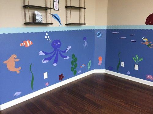 Under The Sea Theme Ocean Wall Mural Stencil Kit Judah