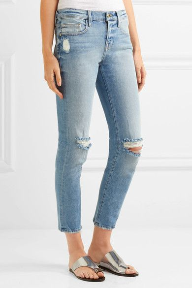 2cc077954444c FRAME - Le Boy Cropped Distressed Mid-rise Slim-leg Jeans - Blue ...