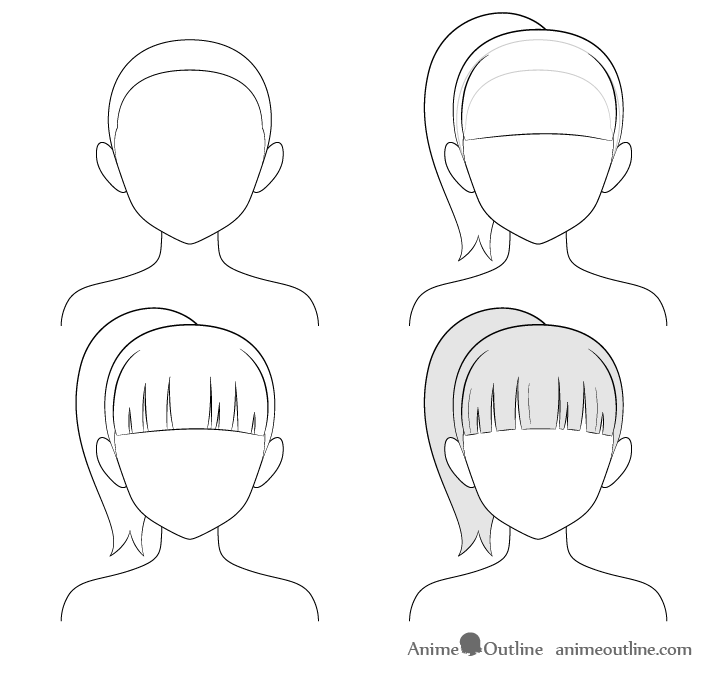How To Draw An Anime Ponytail How To Draw Anime Chibi 1 In 2020 Anime Drawings For Beginners Manga Hair Anime Drawings