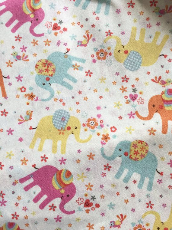 Elephant Nursery Fabric Light Yellow Cotton