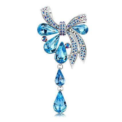 Swarovski Blue Crystal Drop Bow Brooch