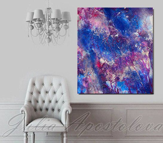 Large Print, Purple, Abstract Painting, Blue Art, Lilac Painting, Pink,  Silver, Modern Wall Art, Blue Home Decor, Living Room Art