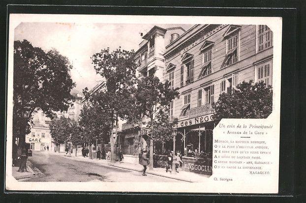 carte postale ancienne: CPA Monte-Carlo, Hotel et Cafe des Négociants, Avenue de la Gare | Carte ...