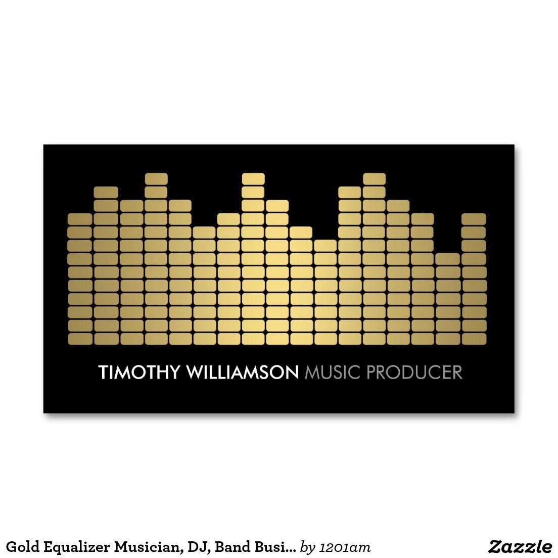 Gold Equalizer Musician, DJ, Band Business Card | Dj, Business cards ...