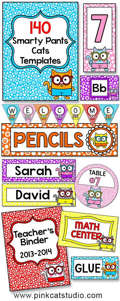 Cat theme labels for classroom jobs teacher binders supply bins create a fun and cohesive smarty pants cats theme classroom with this value packed set of editable templates the only limit is your imagination for what maxwellsz