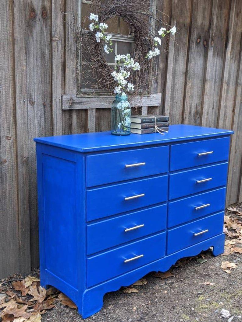 Blue Dresser Vintage Painted Dresser Royal Blue Dresser Maple Dresser Bureau Chest Of Drawers Painted Furniture Blue Dresser Painted Dresser Paint Dresser Diy [ 1059 x 794 Pixel ]