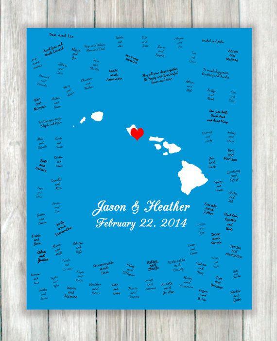 Wedding Guest Book Art Print Custom Wedding Guestbook Alternative Poster Hawaii Wedding Gu Wedding Guest Book Wedding Guest Book Art Custom Wedding Guestbook