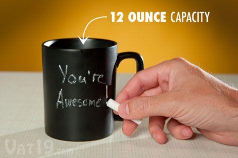 Chalkboard Coffee Mug Write And Erase On This 11 Ounce Coffee Mug Mugs Coffee Mugs Cool Mugs