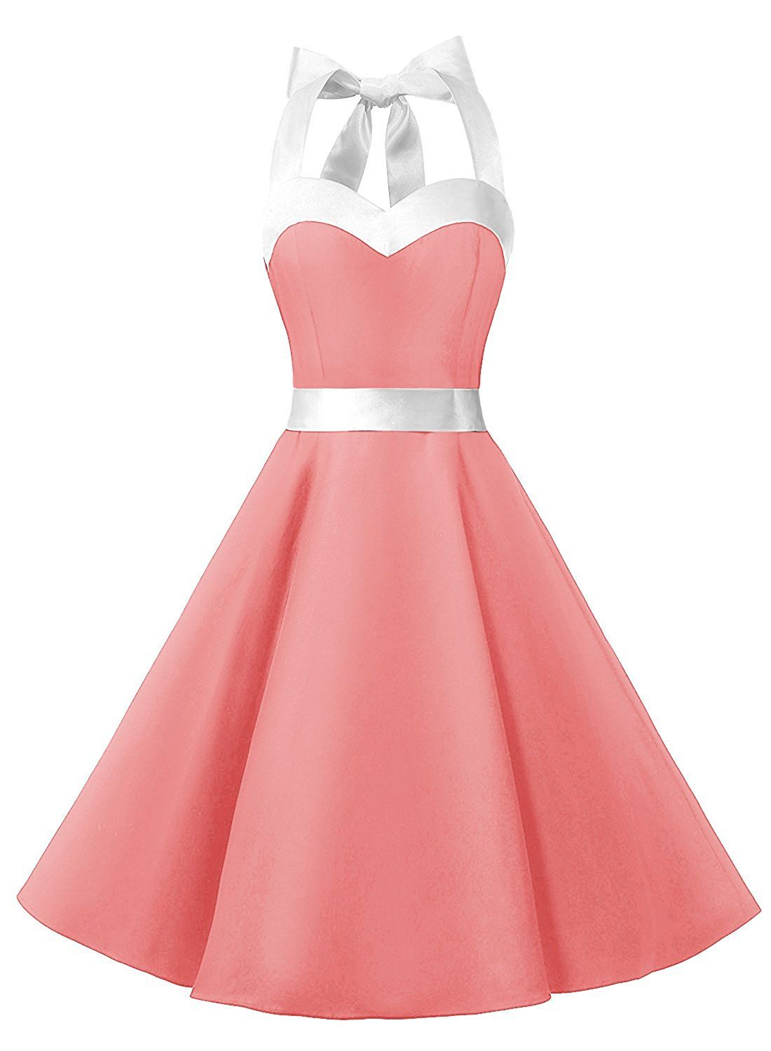 50s Fashion Rockabilly Style Halter Pink Vintage Party Dress on ...