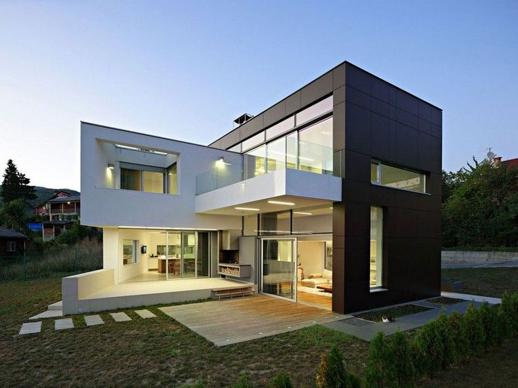 gro e glasfronten und fassade in schwarz und wei sch nes haus pinterest schwarz und wei. Black Bedroom Furniture Sets. Home Design Ideas
