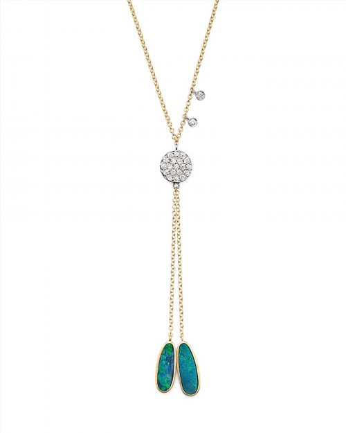 "1,475.00$  Watch here - http://virkh.justgood.pw/vig/item.php?t=wni9fnd5211 - Meira T 14K Yellow Gold, Opal and Diamond Disc Lariat Necklace, 18"" 1,475.00$"