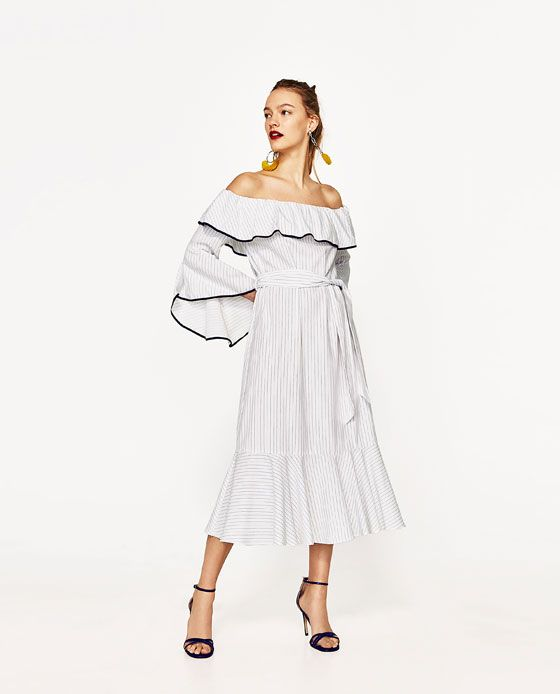 3a1f30e3 Image 1 of RUFFLED OFF-THE-SHOULDER DRESS from Zara | looks ...