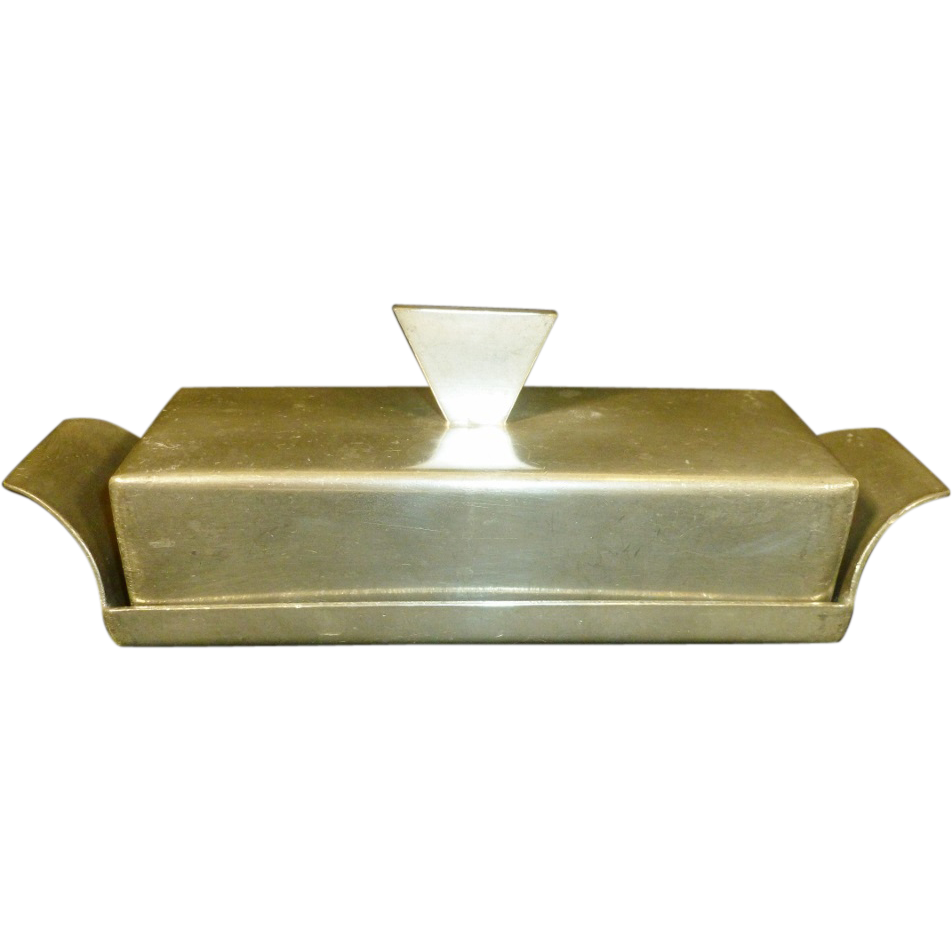 pewter covered butter dish mid  century modern  butter dish mid  - pewter covered butter dish mid  century modern