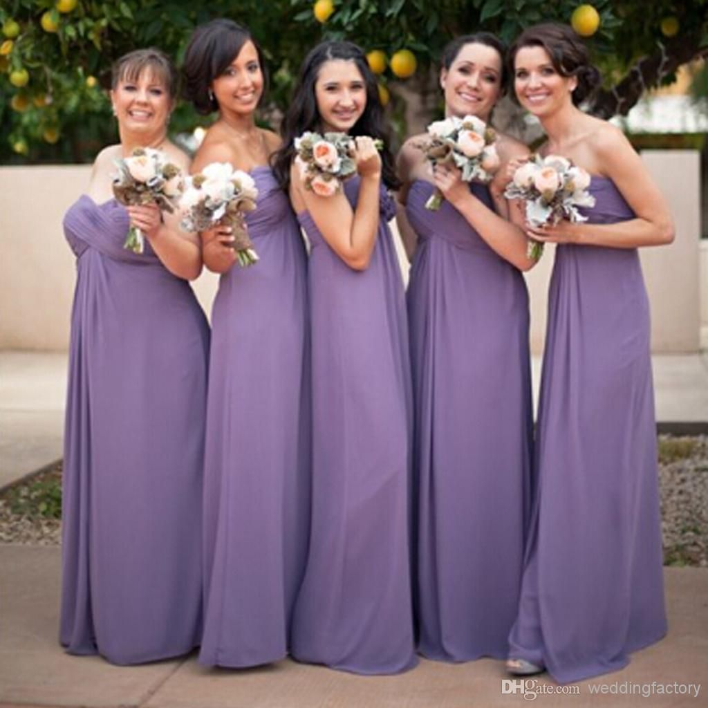 Vintage Bridesmaid Dresses in Wisteria Empire Strapless Sweetheart ...