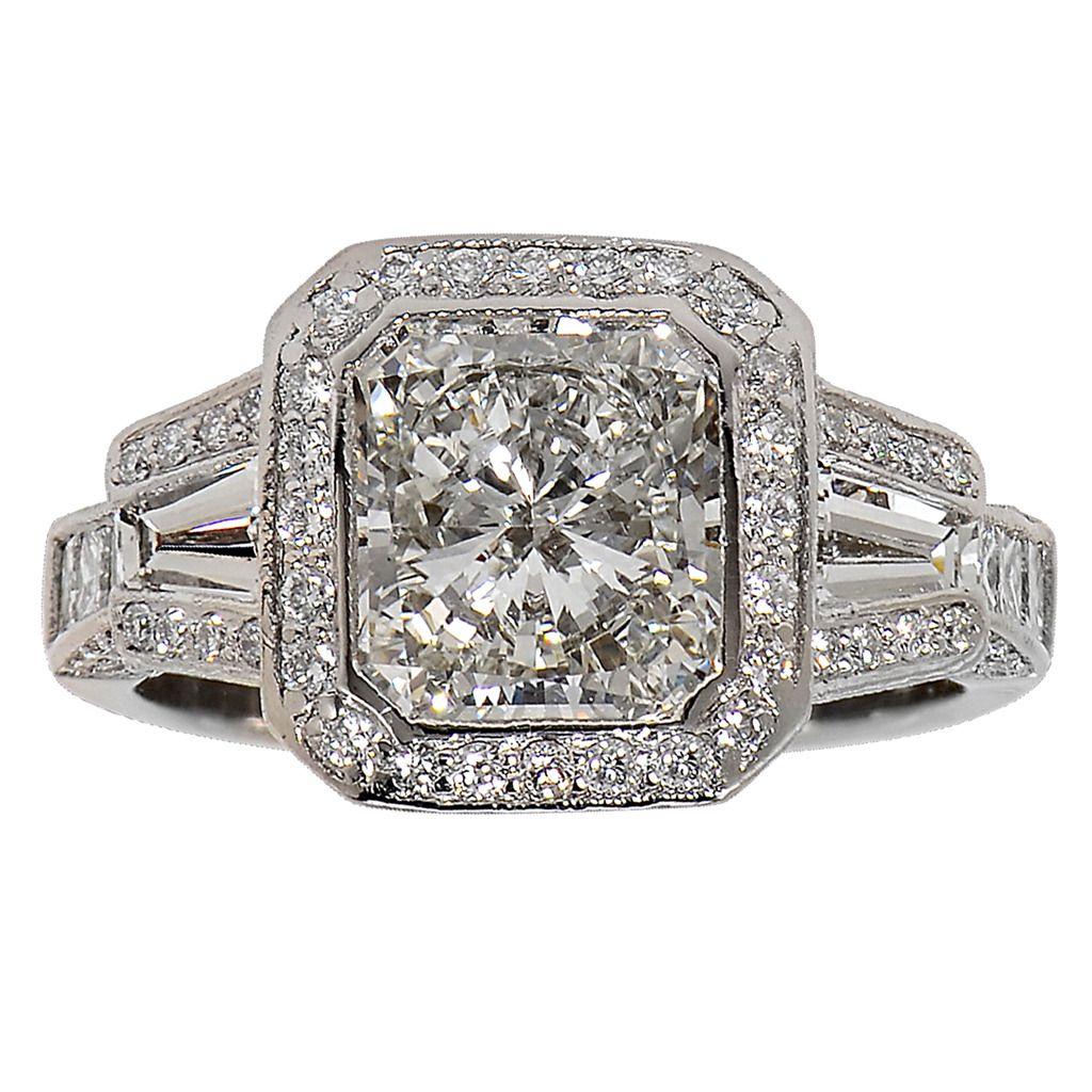carat radiant cut diamond platinum ring star ring