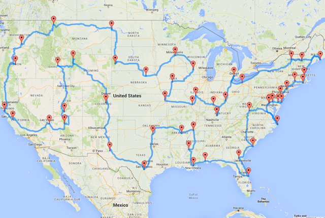 This Map Shows the Ultimate US Road Trip United states Road