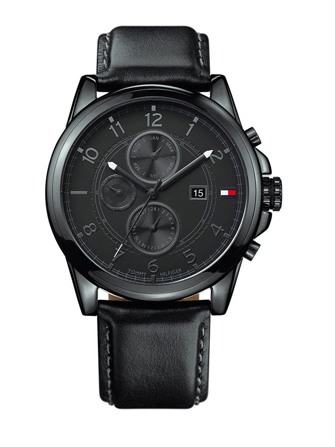 0f428ad50 Tommy Hilfiger Black Dial Black Leather Chronograph Mens Watch 1710295 --  Check out the image by visiting the link.