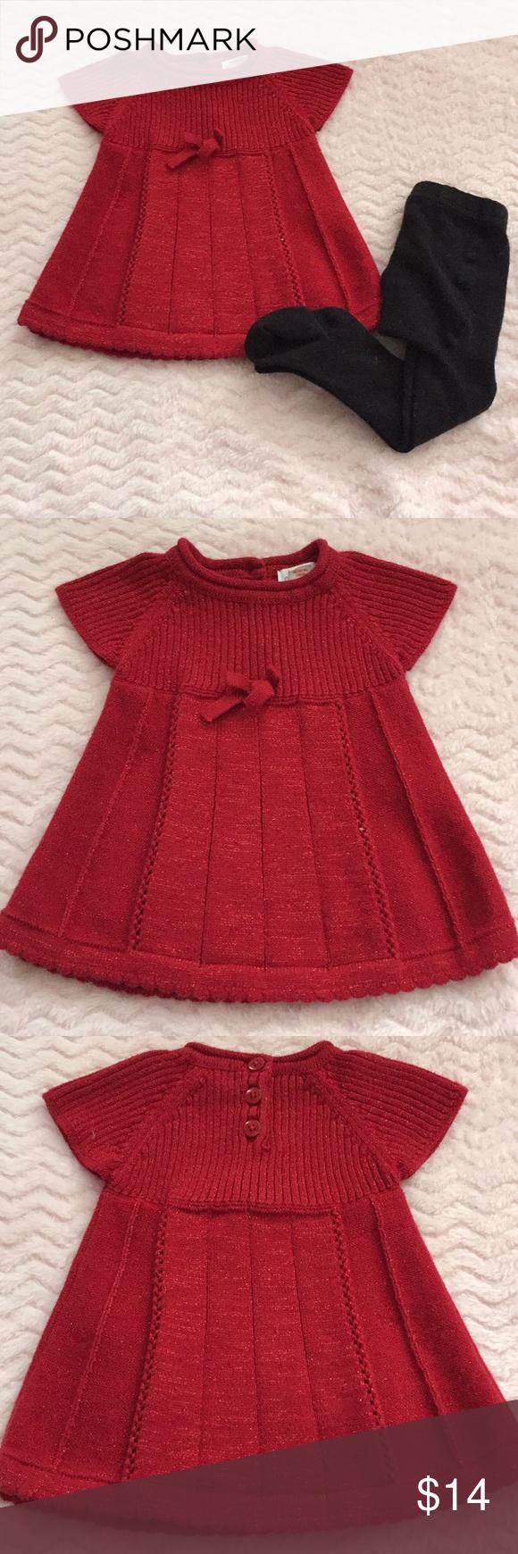 Baby Christmas sweater dress and tights Christmas