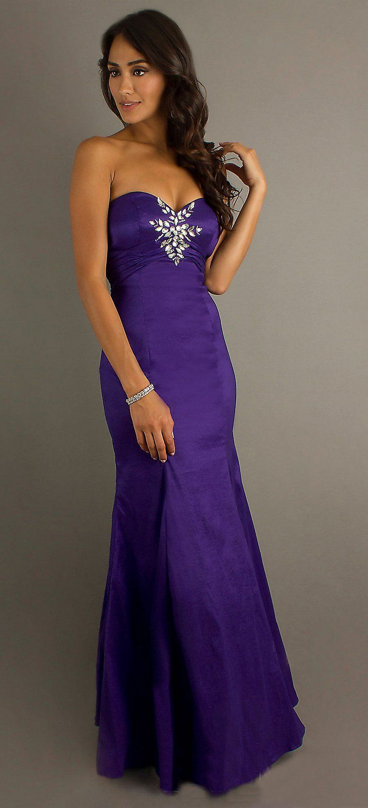 Purple Mermaid Prom Dress Long Strapless Classic Hollywood Style ...