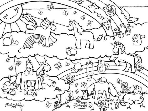 Caticorn And Unicorn Coloring Page Unicorn Coloring Pages Christmas Coloring Pages Coloring Pages For Teenagers