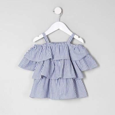 1fb35dd7c06 River Island Mini girls blue frill cold shoulder top | Girl in 2019 ...