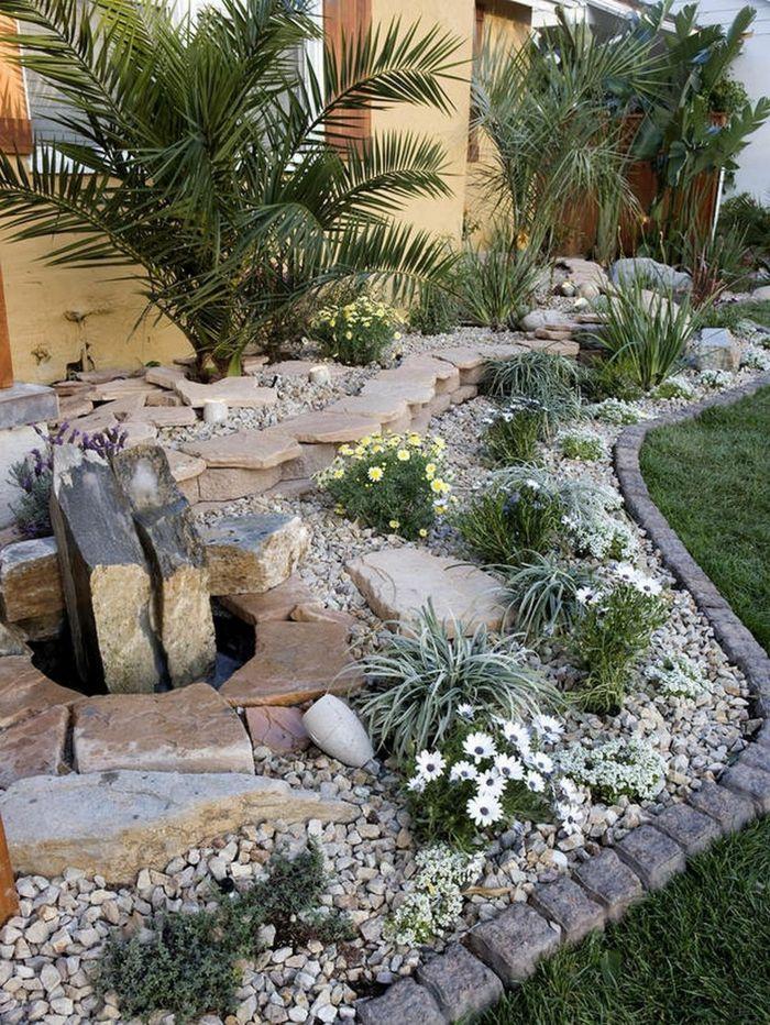 Amenagement Exterieur Bordure De Jardin Paves Gravier Decoratif Plantes Tropicales Pe En 2020 Amenagement Paysager Contemporain Amenagement Paysager Amenagement Jardin
