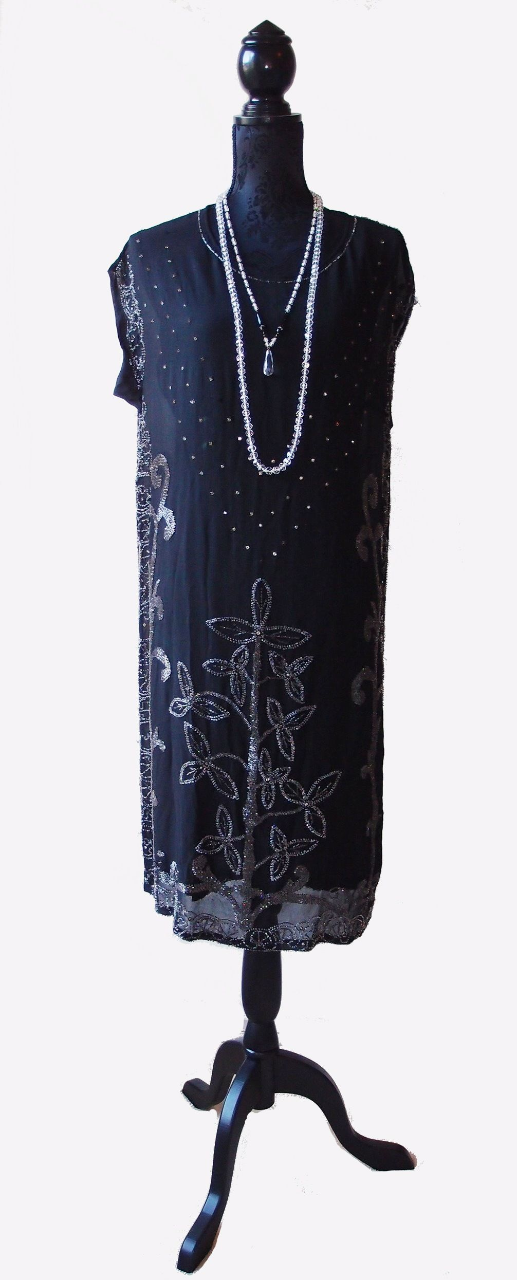 Black chiffon s dress with clear crystal beadwork and prongset