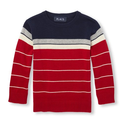 0c421da73ef0 Baby Boys Toddler Boys Long Sleeve Engineer Striped Sweater - Red ...