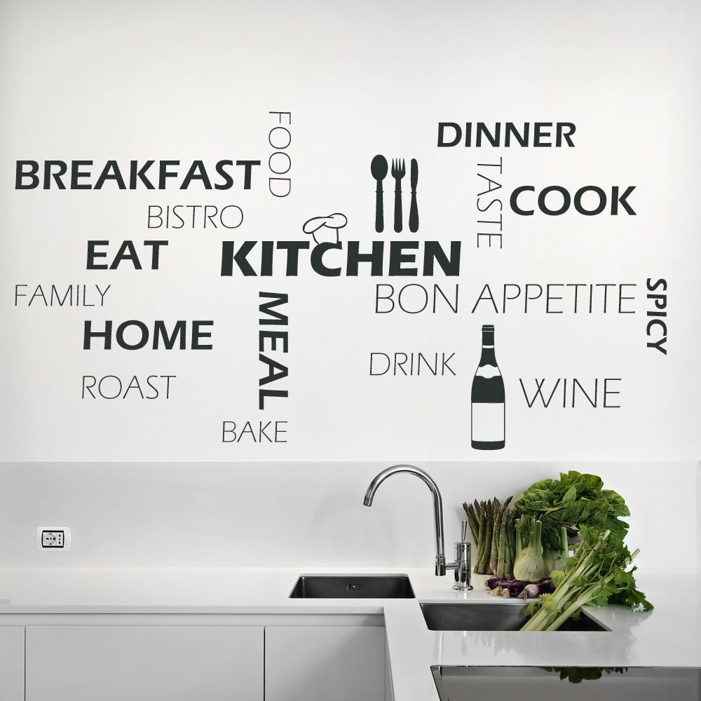 Kitchen Wall Art Quote Stickers Cafe Cooking Home DIY Vinyl Art Decals Home