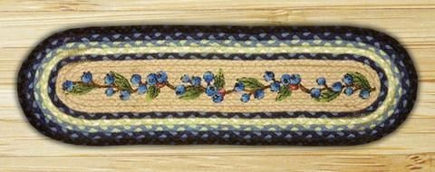 Best Details About Braided Jute Stair Tread Sets Oval Country Stair Treads Blueberry Vine Blue 640 x 480